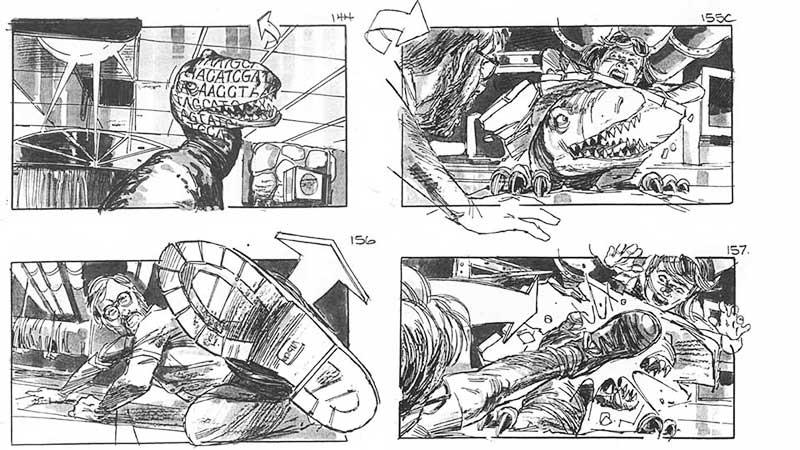 """Jurassic Park"" (storyboard realizat de Dave Lowry, 1993)"