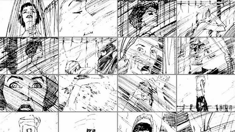 """Psycho"" (storyboard realizat de Saul Bass, 1960)"