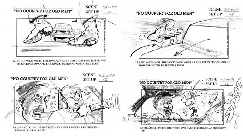 """""""No Country for Old Men"""" (storyboard realizat de J. Todd Anderson, 2007)"""